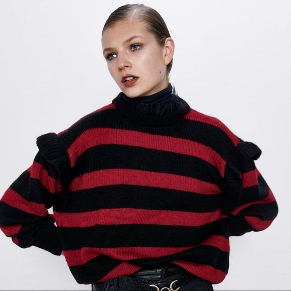 ZARA - Red Black striped knit sweater
